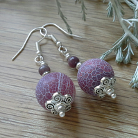 Large Crackle Agate & Genuine Ruby  Earrings Silver Plated