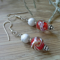 Red Murano Glass &  Howlite Sterling Silver Earrings