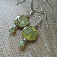 Prehnite & Shell Printed Earrings Silver Plated