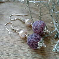 Statement Agate & Shell Pearl Silver Plated Earrings