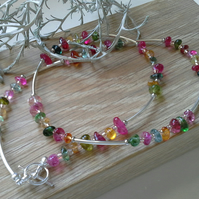 Multicoloured Quartz & Seed Bead Necklace Silver Plated
