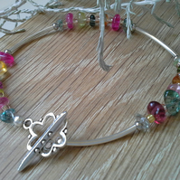 Multicoloured Quartz & Seed Bead Bracelet Silver Plated