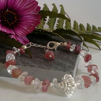 Genuine Strawberry Quartz & Clear Quartz Bracelet Silver Plated