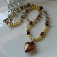 Agate, Yellow Quartzite & Copper Statement Rose Gold Plated Necklace