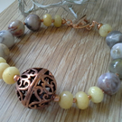 Agate, Yellow Quartzite & Copper Statement Rose Gold Plated Bracelet