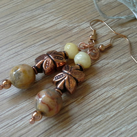 Agate, Quartzite,  Copper  &  Rose Gold Plate Earrings