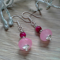 Red Tiger's Eye & Pink Faceted Quartzite Earrings Silver Plate