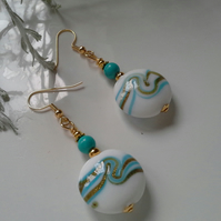 Murano Glass Bead & Turquoise (Rec;) Gold Plated Earrings