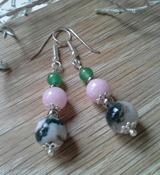 Moss Agate,  Pink Quartzite & Green Aventurine Earrings Silver Plated