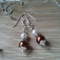 Brown & White Shell Pearl Earrings  Silver Plated