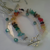 Rainbow Multi Gemstone Nugget  & Seed Bead  Bracelet Silver Plated  MEDUIME SIZE