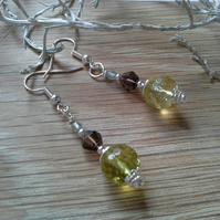 Peridot & Smokey Quartz, Apatite Earrings Silver Plated