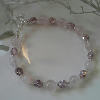 Rose Quartz & Crystal Bracelet Silver Plated