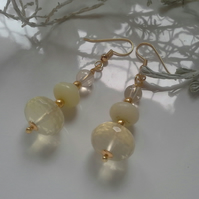 Lemon Quartz & Yellow Chinese Jade Earrings  Gold Plated