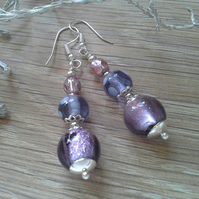 Lampwork & Crystal Bead Earrings Silver Plated