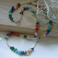 Rainbow Multi Gemstone Nugget Necklace Silver Plate