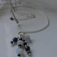 Blue Sapphire & Blue Opal Cluster Pendant Necklace  Sterling Silver