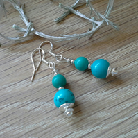 Turquoise (Rec;) Silver Plated Earrings