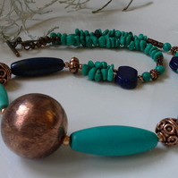 Lapis Lazilu & Turquoise (Rec;) Copper Statement Necklace