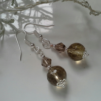 Smokey Quartz Silver Plate Earrings