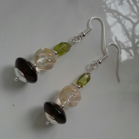 Peridot,  Smokey Quartz,  Citrine Earrings Silver Plated