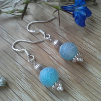 Crackle Agate Sterling Silver Earrings