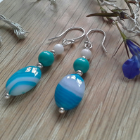 Agate,  Turquoise, ( Rec;) Sterling Silver Earrings