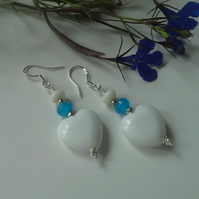 White Onyx Hearts,  Quartzite & White Coral Sterling Silver Earrings