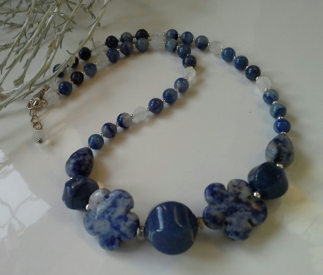 Sodalite,  Jade, Jasper & Agate Sterling Silver Necklace