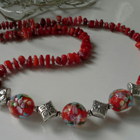Genuine Coral Nugget & Fancy Floral Lampwork Bead Necklace Silver Plated