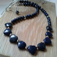 Lapis Lazuli Heart Sterling Silver Necklace