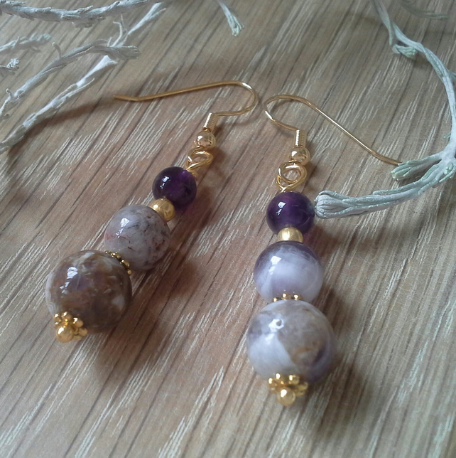 SALE Amethyst & Rare Sage Amethyst Gold Plated Earrings