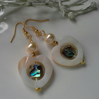 Mother of Pearl,  Abalone Shell & Shell Pearl Earrings Gold Plated