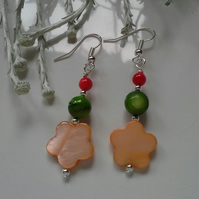 SALE Colourful,  Fun, Mother of Pearl Coloured Earrings Silver Plated
