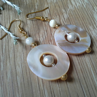 Statement,  Unique, Mother of Pearl & Shell Pearl Gold Plated Earrings