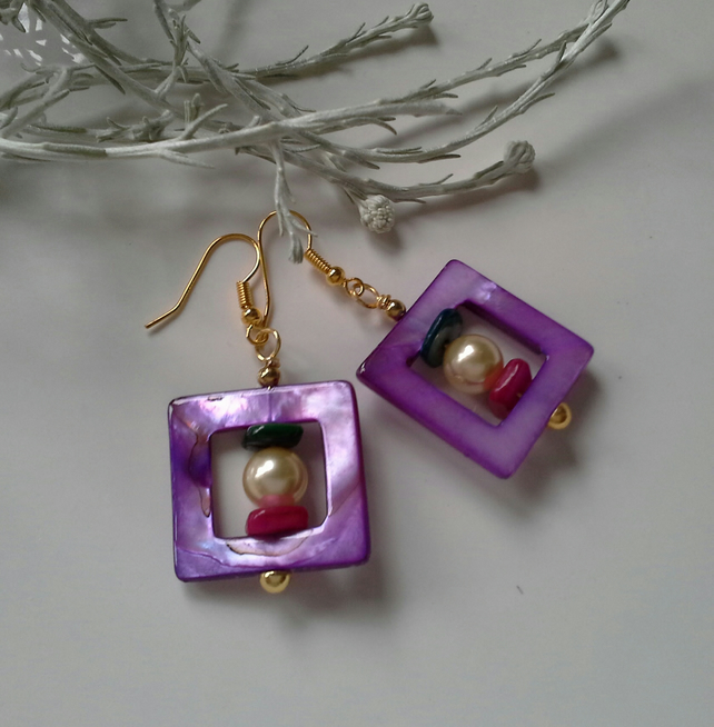 Mother of Pearl & Shell Pearl Earrings Gold Platedw