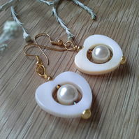 Mother of Pearl & Shell Pearl Heart Earrings Gold Plated
