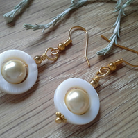 Mother Of Pearl & Shell Pearl Gold Plated Earrings
