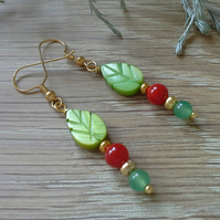 SALE Mother of Pearl & Glass Bead Earrings Gold Plated