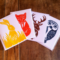 Pack of 4 lino print cards (A6) - woodland animals.
