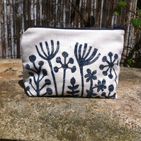 Seed head print make up bag - Handmade