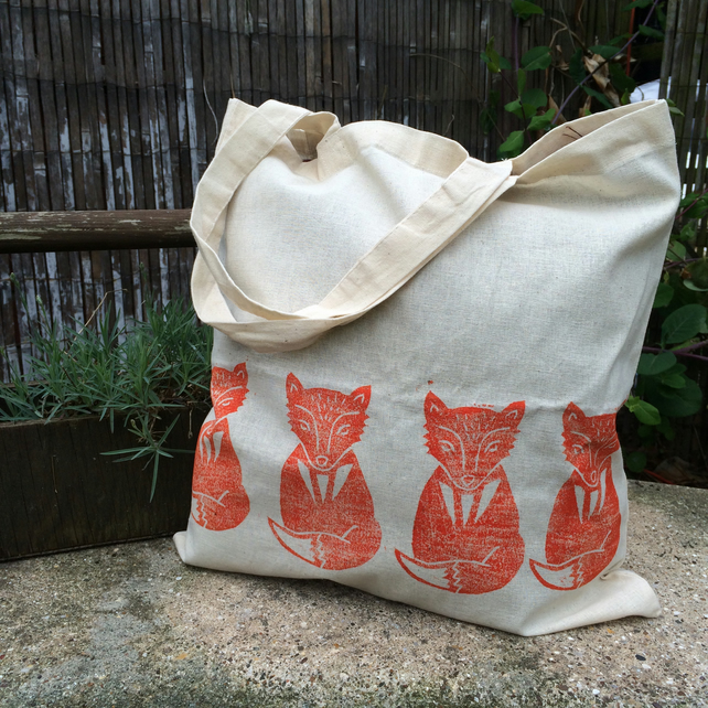 Fox Tote Bag - Hand Printed