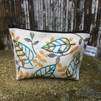 Small layered leaf printed make up bag (turquoise) - handmade and hand printed