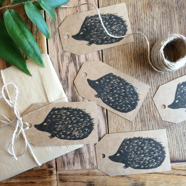 Hedgehog gift tags (pack of 5) - handmade and hand printed