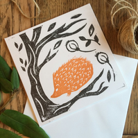 Hedgehog lino print card - hand printed - nature