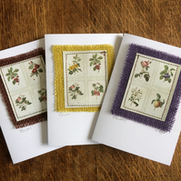 pack of 3 floral cards - handmade