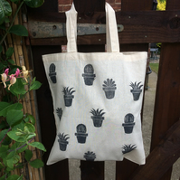 Pot plant tote bag - hand printed
