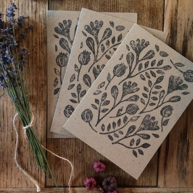 Botanical cards, set of 3, hand printed