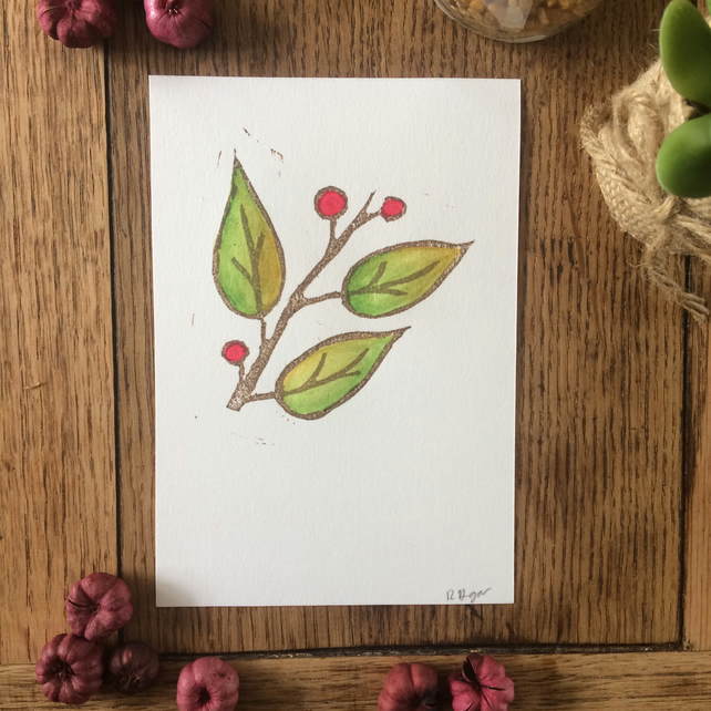 Leaf & berries lino print with water colour