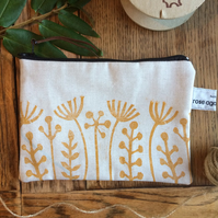 Seed head print bag - handmade - zipped pouch - hand printed - nature print